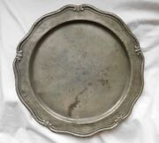 Antique Pewter Charger 12 Hand Engraved 18th C 1755 2 Touch Marks Wavy Edge