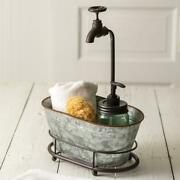 Farmhouse Galvanized Metal Container With Faucet