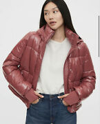 Gap Upcycled Cropped Midweight Puffer Jacket, Cosmetic Pink Size Xs