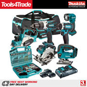 Makita 18v 6 Piece Kit 3 X 5ah Batteries Charger And 101 Accessory Set T4tkit-222