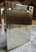 S.t. Dupont Paris Table Lighter Jeroboam Silver Plated Very Good Condition