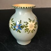 Vintage Pottery Small Vase With Flowers Anton Lang Signed 4 -1/4