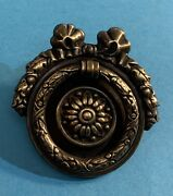 Colonial French Brass Antique Hardware Wreath Round Drop Ring Drawer Pull