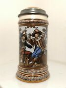 Mettlach Stein 1932 0.5l Etched, Cavaliers Toasting, Inlaid Lid