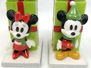 Disney Store Mickey And Minnie Candle Holder Set Vintage Christmas Decorations