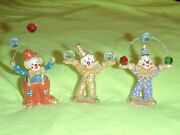 Vintage 3 Spoontiques Pewter 2 To 2 1/2 Clown Figurines W/cystals And Balloons