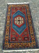 Antique Rugs Yahyali Blue Wool Area Turkish Hand Knotted Rug Bohemian Oriental