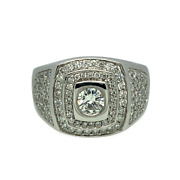 Sale 18ct White Gold And Diamond Pave Set Cluster Ring