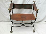 Antique 19th Century Italian Iron And Brass Savonarola Chair Leather Back And Seat