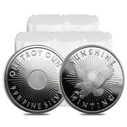 Lot Of 100 - 1 Oz Sunshine Mint Silver Round .999 Fine 5 Roll Tube Of 20