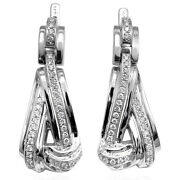 14k Solid White Gold Genuine .74 Carats Diamonds. Russian Style Dangle Earrings