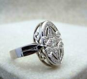 Vintage And Antique Art Deco Engagement Ring 14k White Gold Over 1.5 Ct Diamond