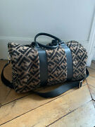 Fendi Shearling And Calf Leather Textured Monogram Overnight Bag