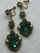 Vintage Victorian Antique Murano Glass And Pearl Dangly Earrings