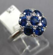 Wide 1.75ct Diamond And Aaa Sapphire 18k White Gold Flower Star Of David Love Ring