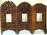19 C Chinese Wooden Carved Three- Folded Dragon Panel Picture Screen