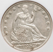 1853-o Seated Liberty Half Ngc Au55 Arrows And Rays Reflective Fields Much Luster