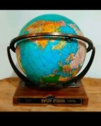 Weber Costello 1958 Globe With Rand Mcnally Atlas Wooden Base Brass Meridian