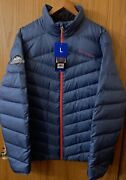 Nwt Menand039s Spyder Full Zip 600 Fill Down Quilted Puffer Jacket Size L Large Blue