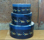 3 Primitive Vintage Wood Painted Round Stacking Nesting Pantry Boxes Blue Geese