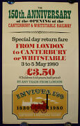 Canterbury And Whitstable Railway 1830 Steam Locomotive 150 1980 Poster
