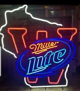 Miller Lite Beer State Of Wisconsin Badgers Football Neon Light Up Sign Rare