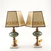 Vintage Hand-painted Glass Table Lamps On Carrera Marble Bases, Circa 1940s