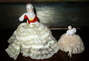 Lot Antique Tea Dolls With Lace Dress - Needle /pin Cushions