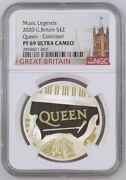 2020 Uk £2 Queen 1oz Silver Proof Colorized Coin Ngc Pf69 Uc - Music Legends