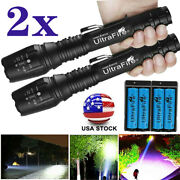 2set Tactical 350000lm Zoomable Led Flashlight Torch Aluminum Worklight Torch
