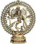 Nataraja Dancing Against The Cosmic Syllable Om -brass Statue, Height 18 Inch
