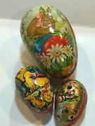 3 Vintage Paper Mache Old West Germany Easter Eggs That Open .