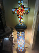 Cross Lamp Stand Stained Glass Beautiful Design Butterfly Lighting Vtg