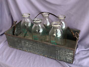5 Quart Milk Bottles Best Dairy Collectible Chicago And Milkman Delivery Tin Crate
