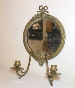 Antique 1800's Ornate Gilt Bronze Wall Mirror Candle Holder Sconce Fixture Brass