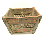 9 Primitive Dry Paint Antique Folk Art Wooden Mortise And Tenon Footed Table Box