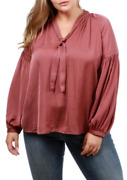 Lucky Brand Dusty Rose Jenna Peasant Blouse Silky Long Sleeve Top 3x Plus Size
