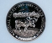 1985 Canada One Dollar Silver Proof Like Coin Km143 Moose National Parks 1885
