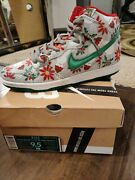 New Nike Dunk Sb High Concepts Ugly Christmas Sweater Grey Sz 9.5 Ds Xmas Gray
