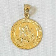14k Yellow Gold Saint Christopher Protect Us Pendant / Charm Made In Usa