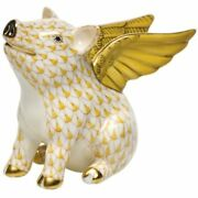 Herend When Pigs Fly Porcelain Figurine Butterscotch Fishnet