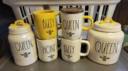 Rae Dunn Bee Happy Queen Mug Canister Set Queen Brand New 2021 Vhtf