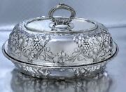 Rare Antique Sterling Silver Repousse Covered Entree Dish Harris And Shafer Dc
