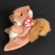 Vintage 1996 Ty Beanie Babies Nuts The Squirel Stuffed Toy Pvc Pellets In