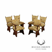 Antique Arts And Crafts Style Set 6 Oak Dining Chairs