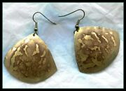 Vintage Pair Of Brass South African Earrins For Pierced Ears - Brutalist