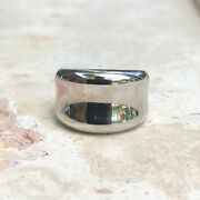 14 Kt White Gold Polished Heavy Concave Design Wide Cigar Band Ring New