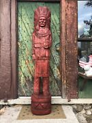 John Gallagher Carved Wooden Cigar Store Indian Statue 3 Ft.tall Stained
