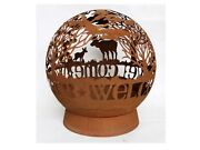 Globe Shaped Metal Welcomeand039 With Moose And Trees Decorative Fire Pit