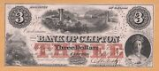 Bank Of Clifton Canada 3 Unc 1859 Charlton 125-10-04-04 Banknote